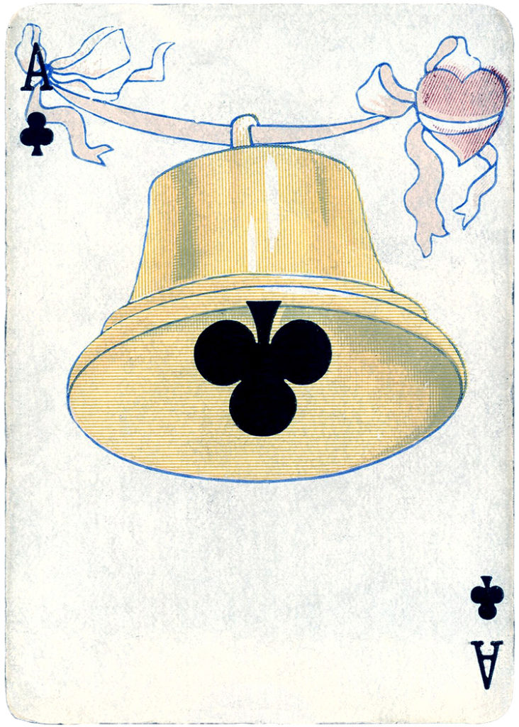 vintage ace clubs playing card bell image