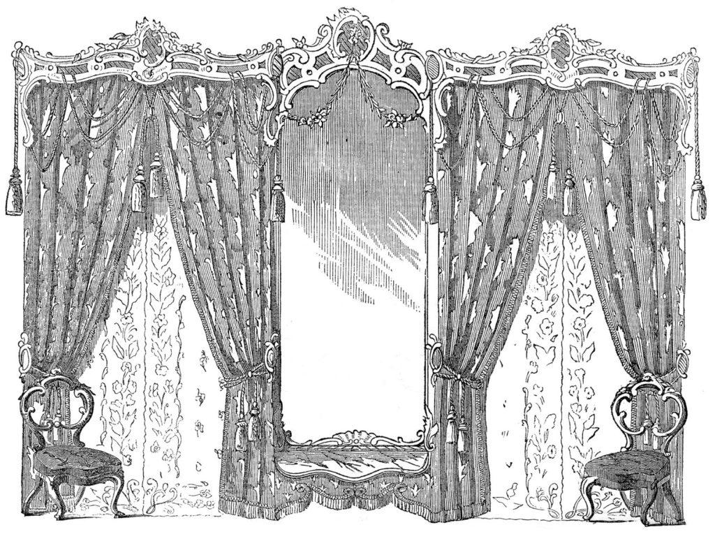 vintage Godeys drapes image