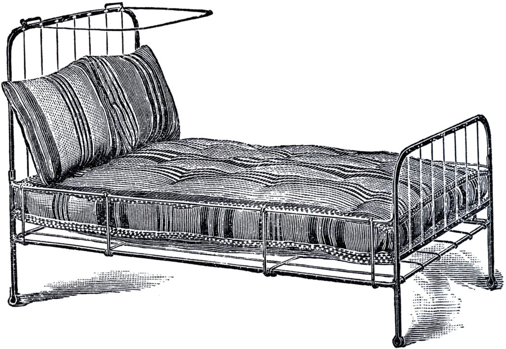 vintage iron bed clipart