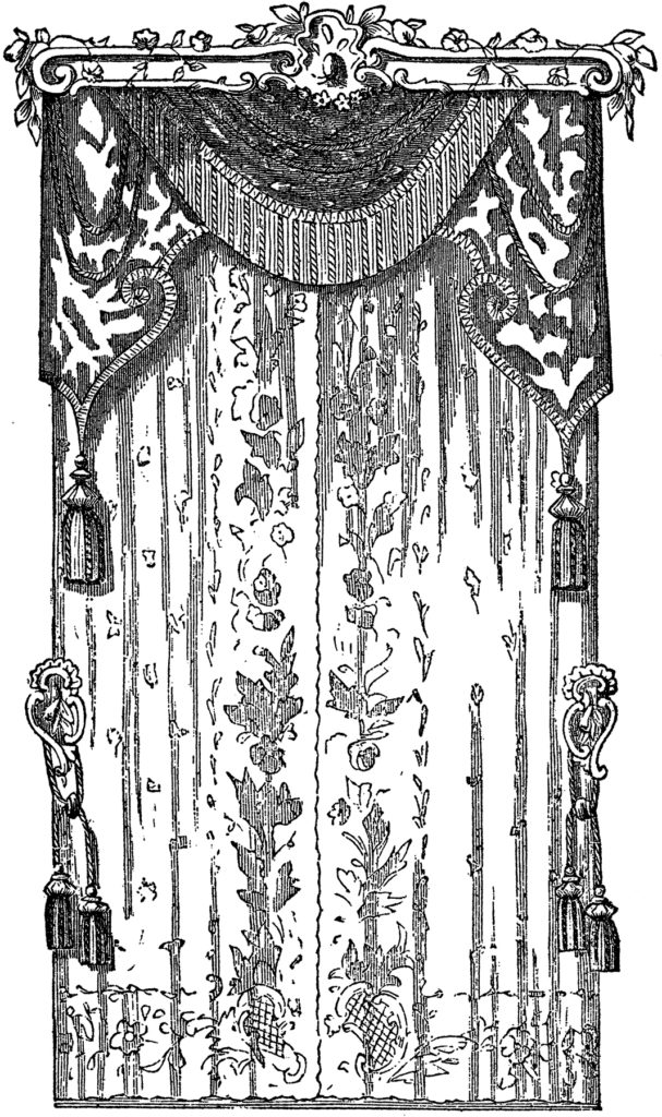 vintage lace curtains illustration