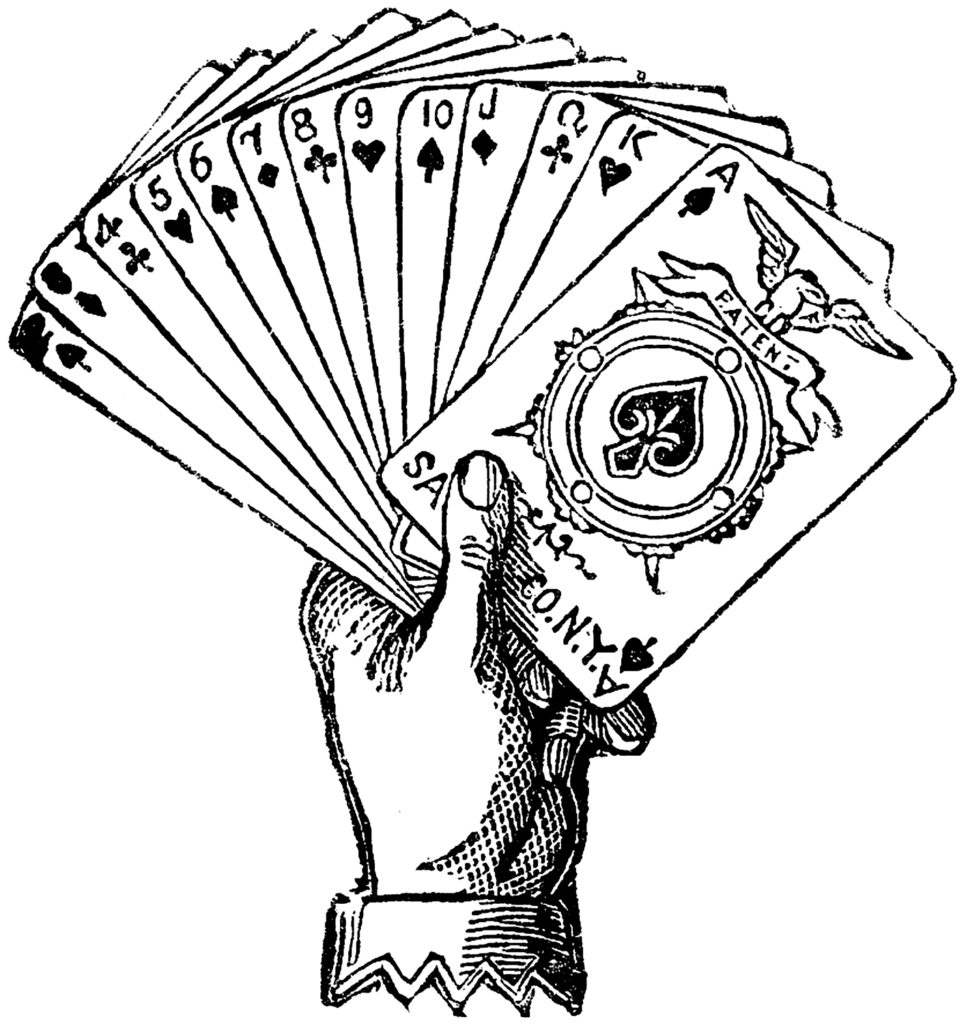 vintage playing cards hand image