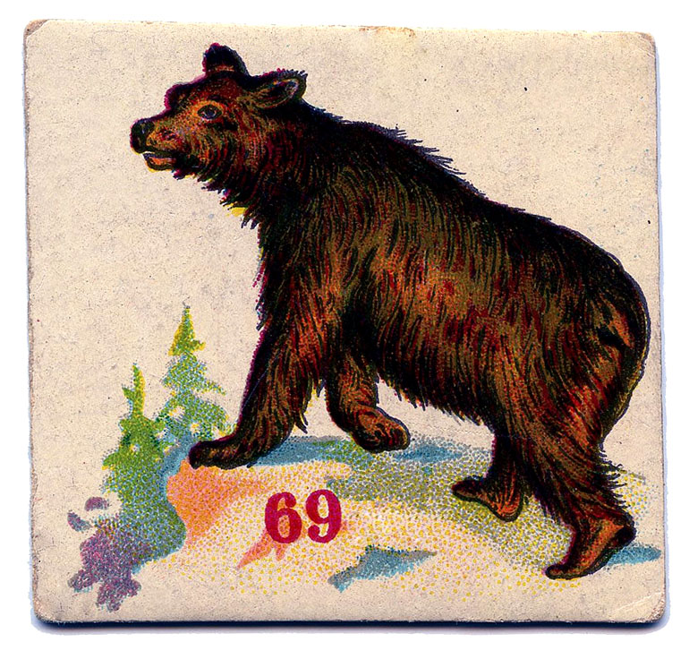 vintage game card bear image