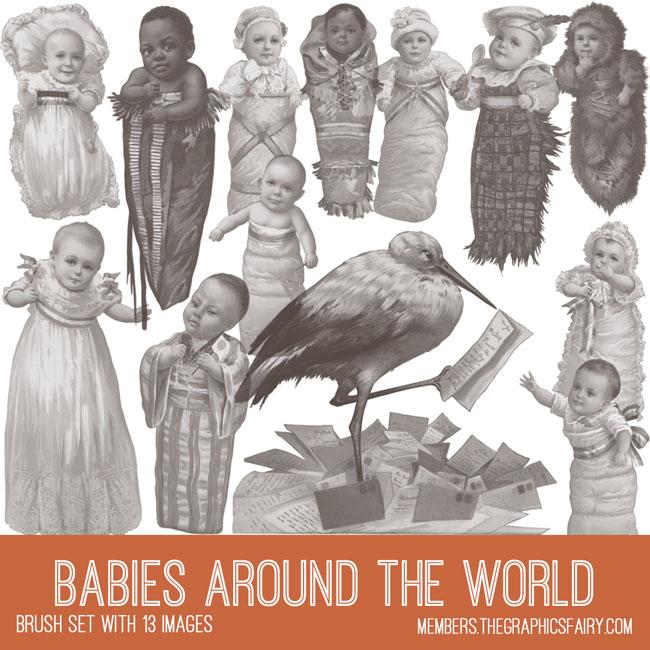vintage babies around the world ephemera brush set
