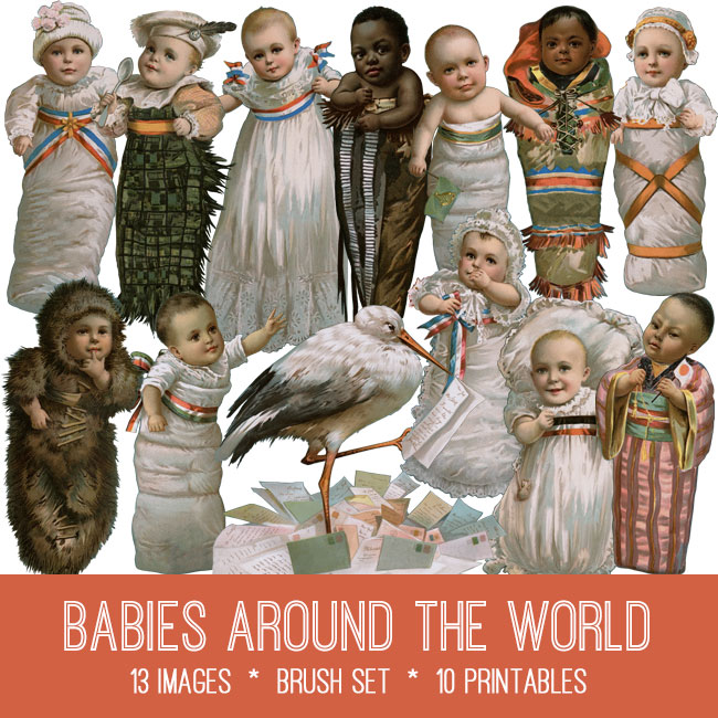 babies around the world vintage images