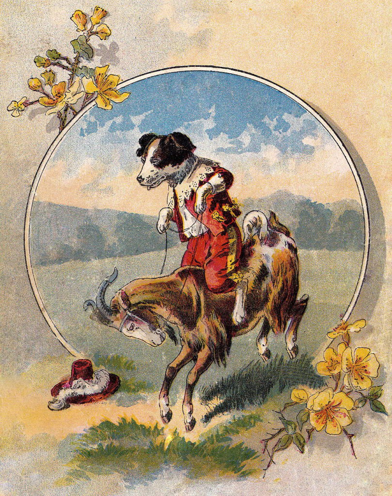 dog riding goat vintage image