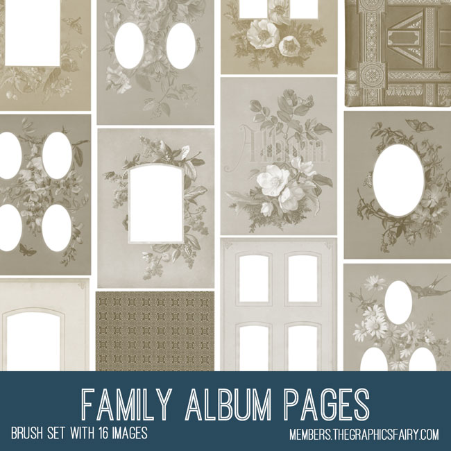 vintage family album pages ephemera brush set