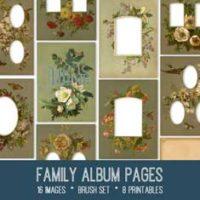 vintage family album pages ephemera bundle