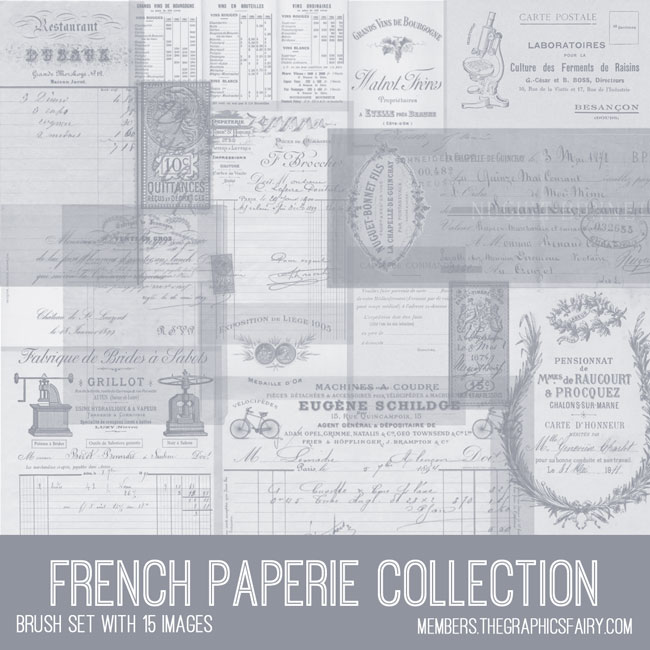 french paperie collection vintage ephemera brush set
