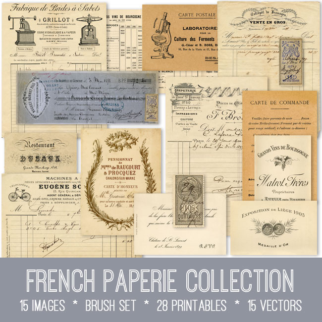 french paperie collection vintage images