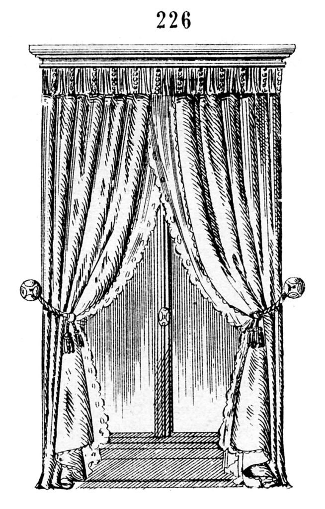 antique window drapes illustration