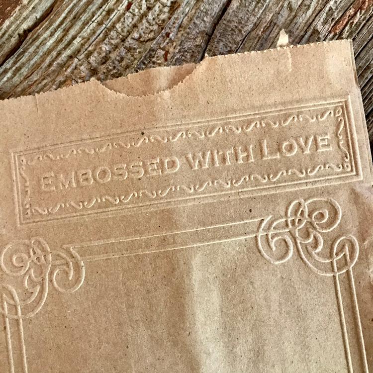 Words Embossed on bag