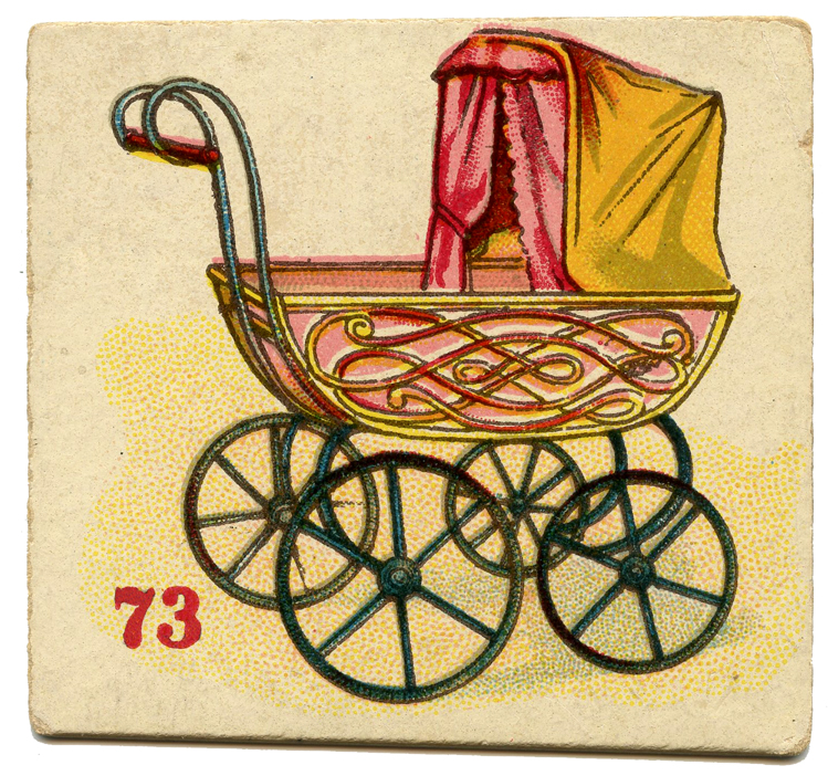vintage baby buggy pram card image