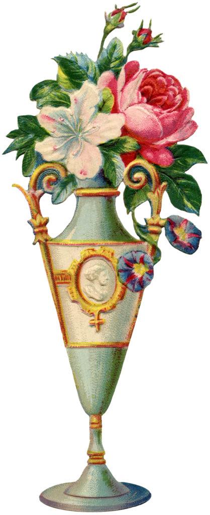 tall urn vase flowers illustration