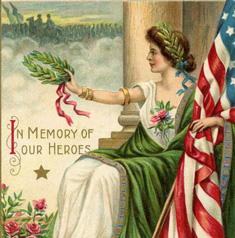 Memorial Day lady with Flag