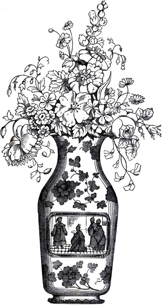 vintage black white floral vase clipart