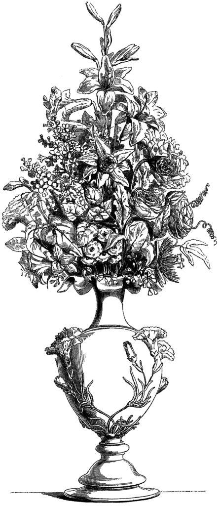 vintage flowers vase illustration