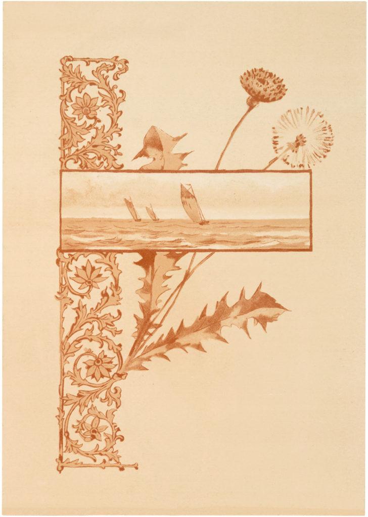 vintage ornamental sailboat scene dandelion image