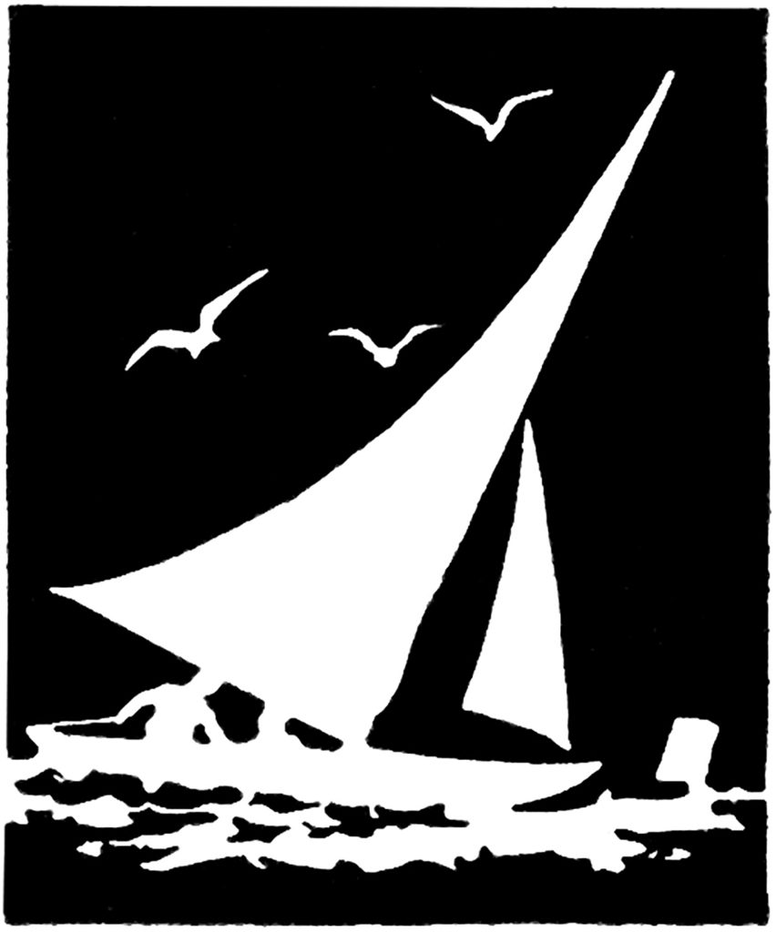 vintage sailboat seagull silhouette clip art
