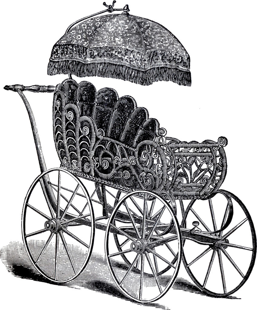 antique wicker baby carriage umbrella parasol illustration