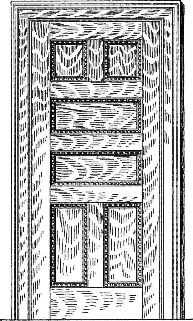 vintage wood panel door illustration