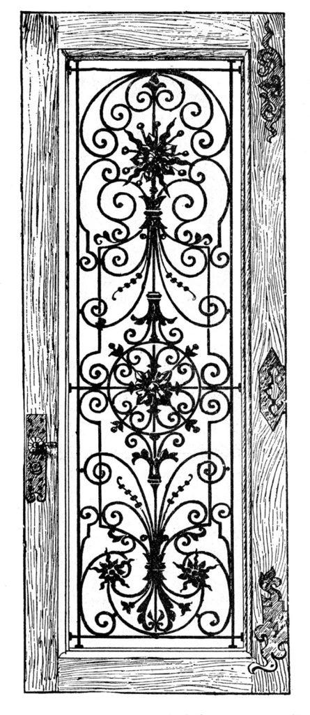 wood ornate iron door illustration