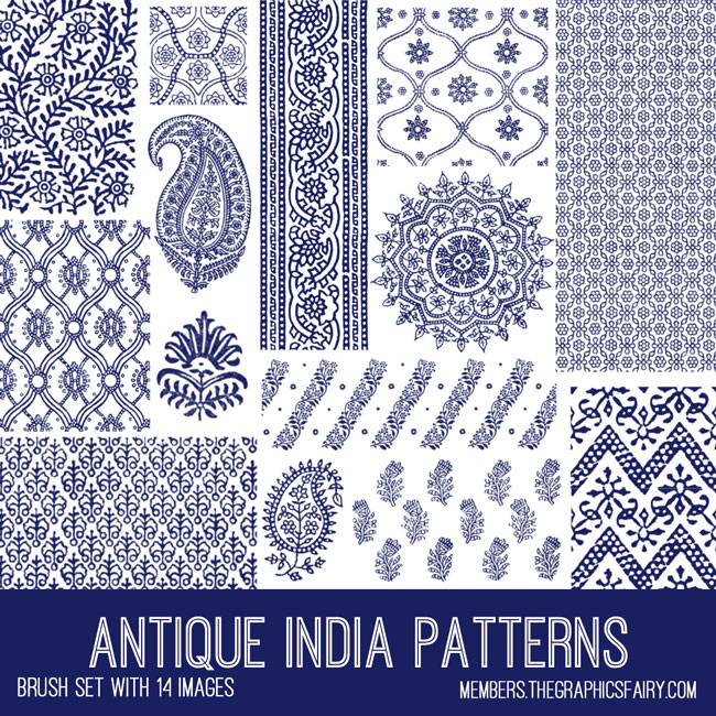 antique India patterns brush set