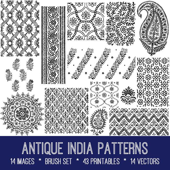 antique India patterns vintage images