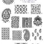 antique India patterns digital image bundle
