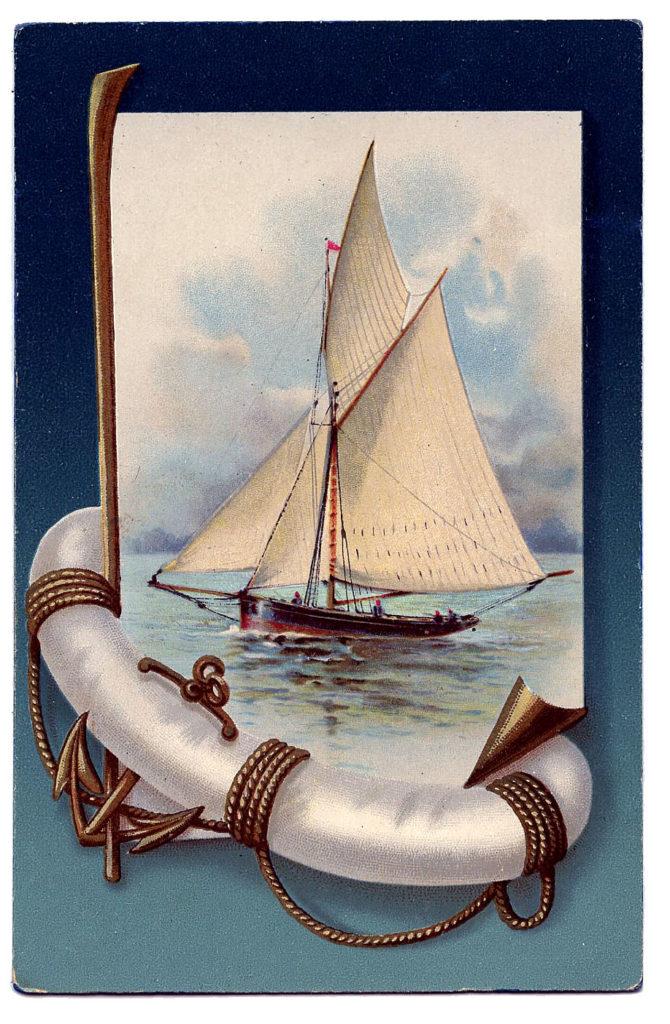 vintage sailboat life preserver image