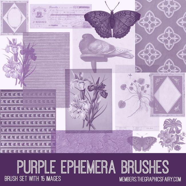 vintage purple ephemera brush set