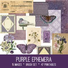 Vintage purple ephemera bundle