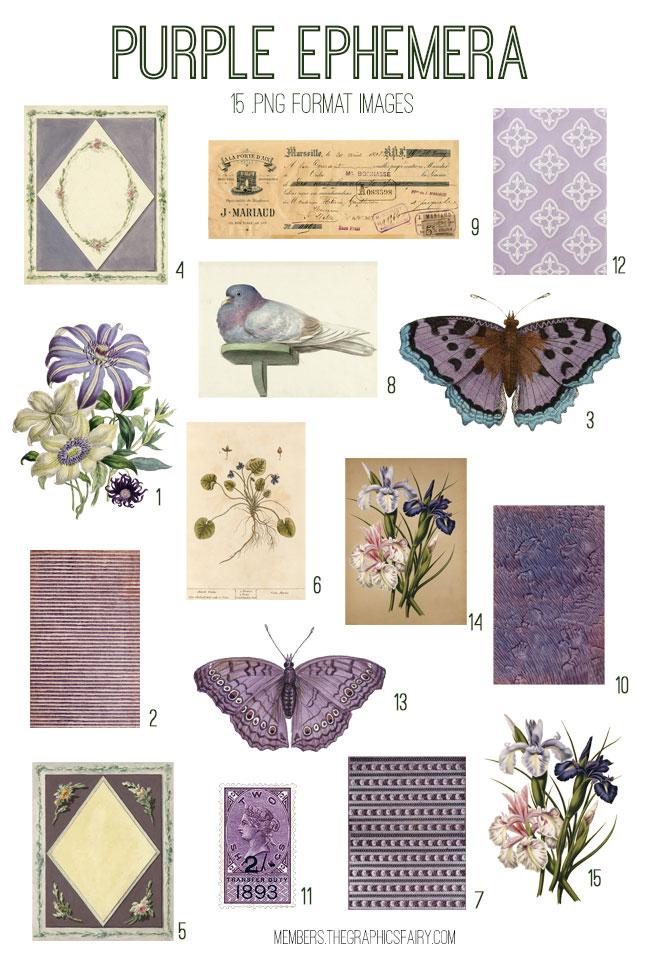 vintage purple ephemera digital image bundle