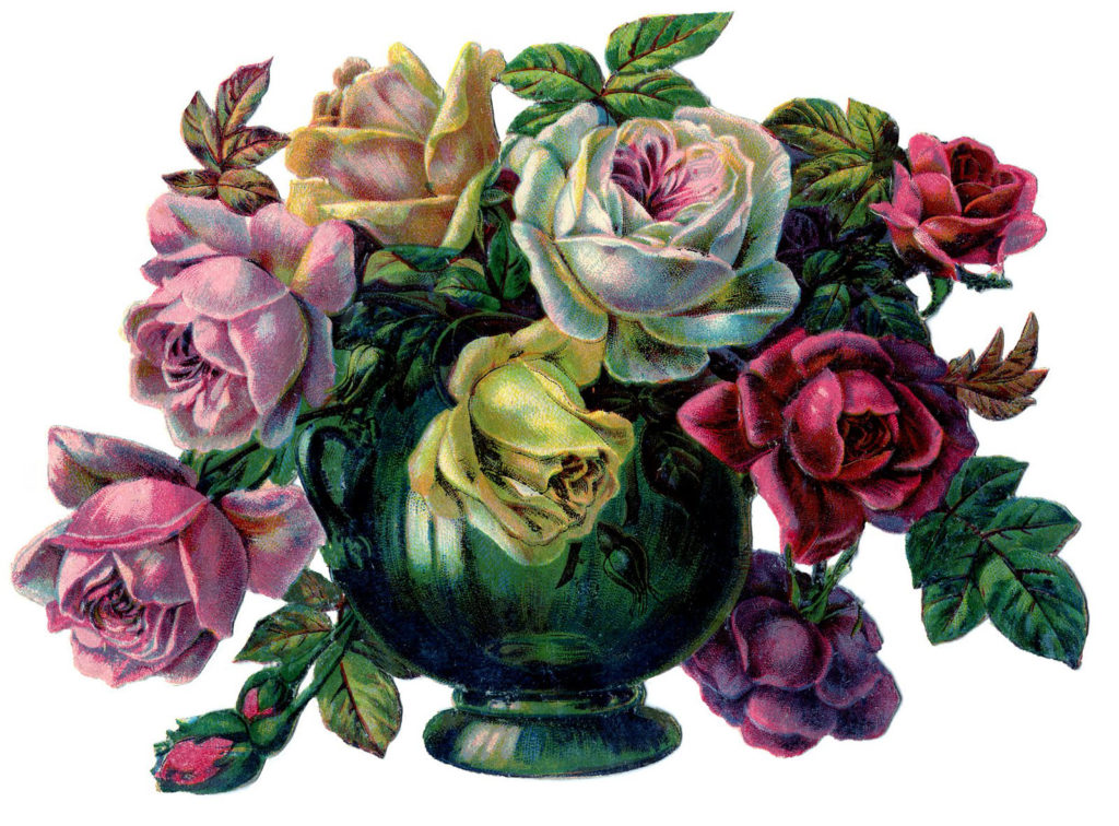 roses centerpiece vase clip art
