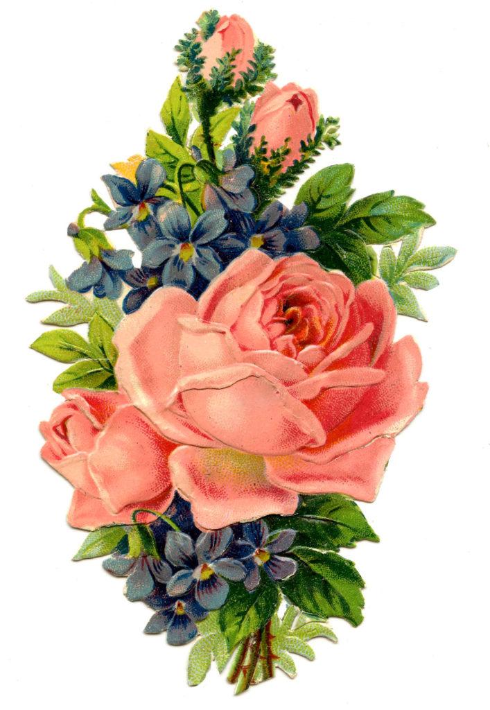 roses violets bouquet clipart