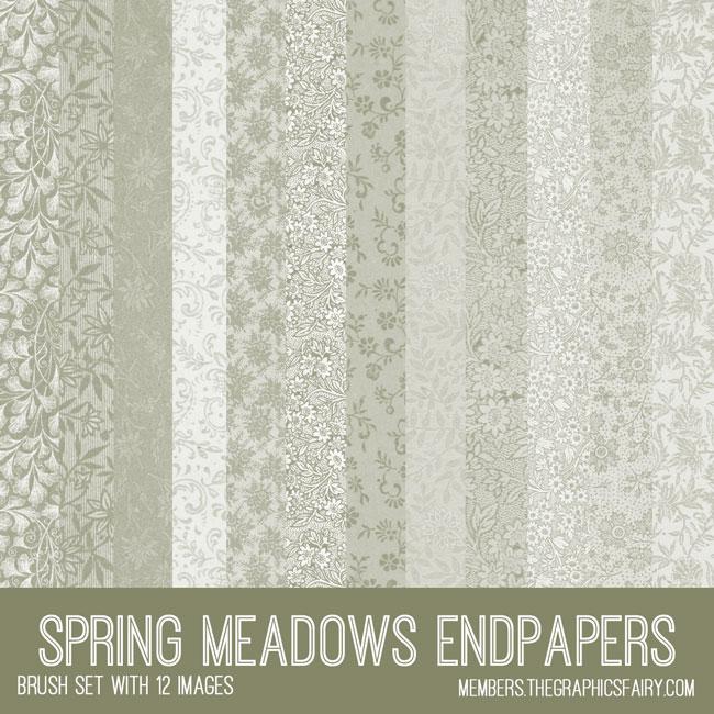 vintage Spring meadows endpapers ephemera brush set