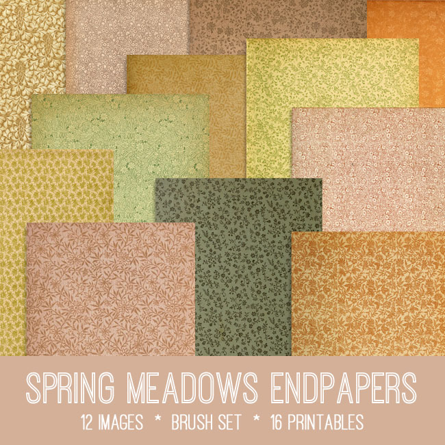 Sring meadows endpapers vintage images