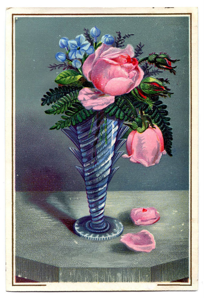 vintage crystal vase roses clipart