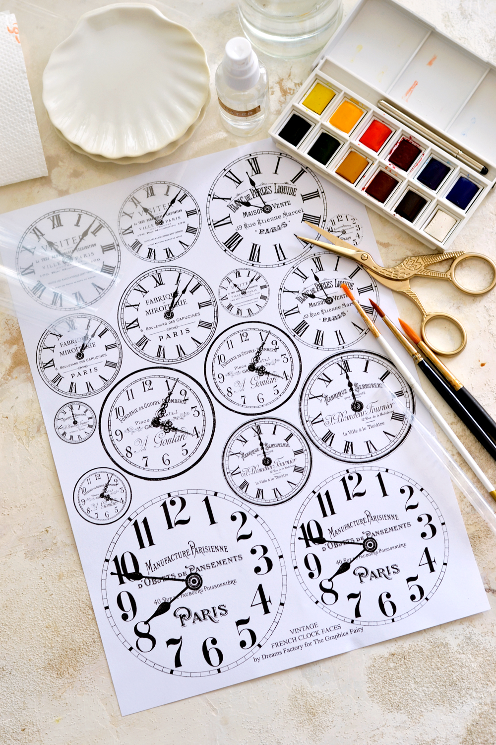 Vintage French Clock Faces