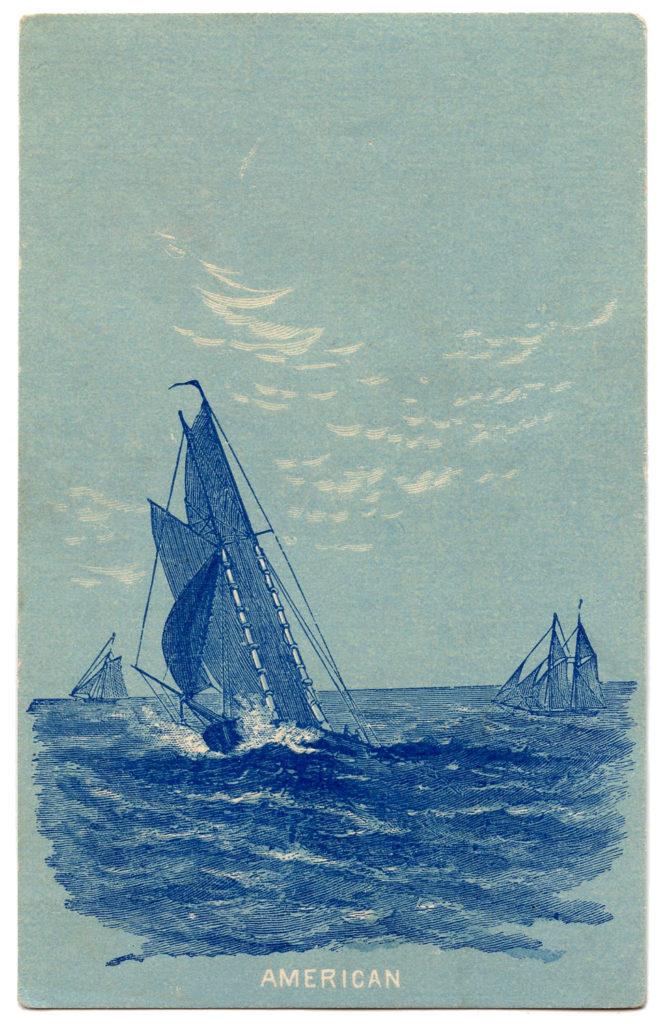 vintage American sailboat illustration