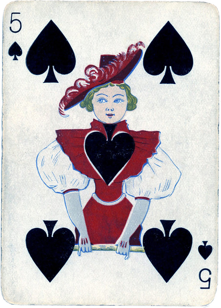 Antique Cards Spades Lady