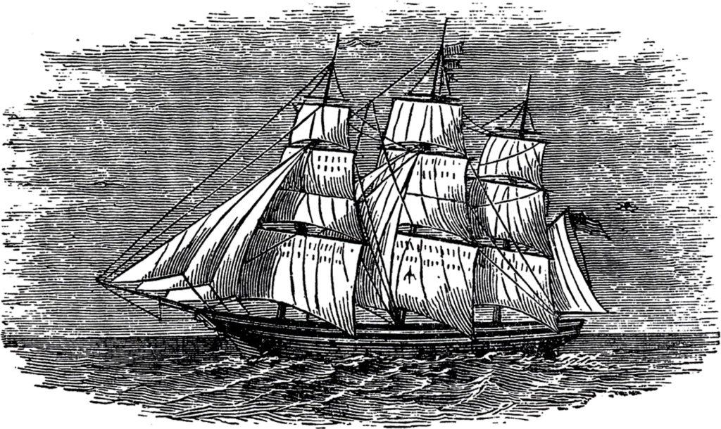 antique ship engraving image