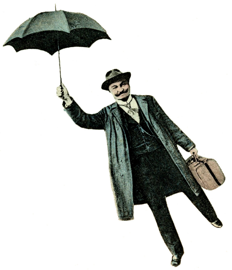 flying man umbrella clipart