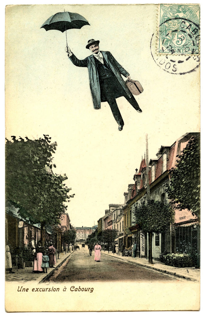 vintage postcard man flying umbrella image