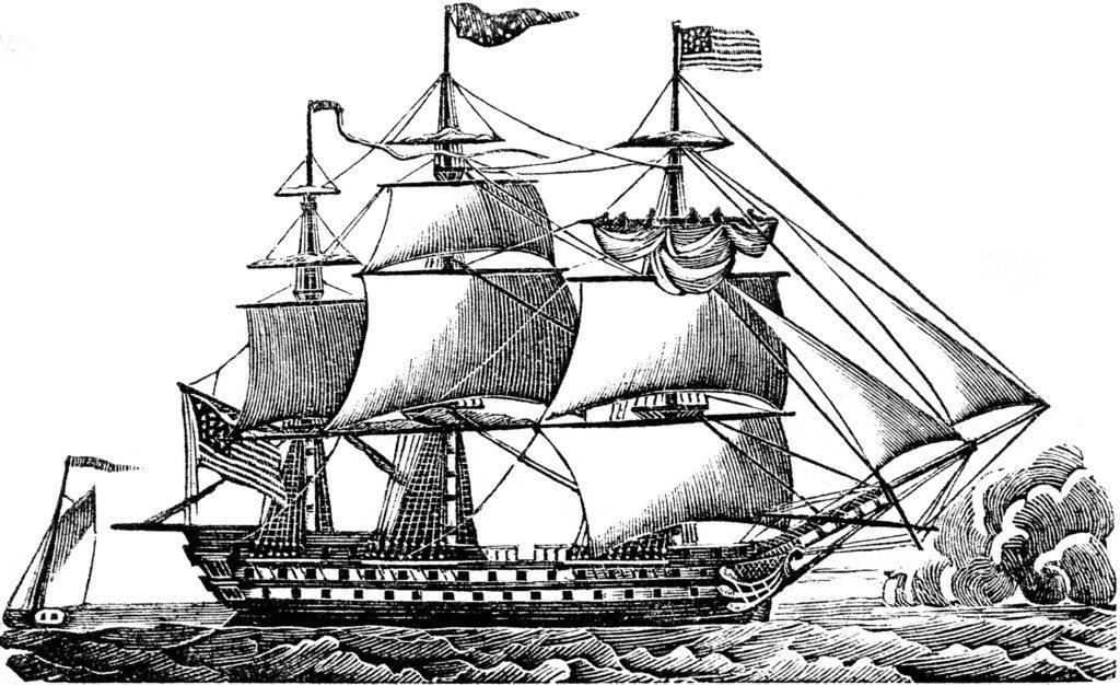 vintage black white ship clipart