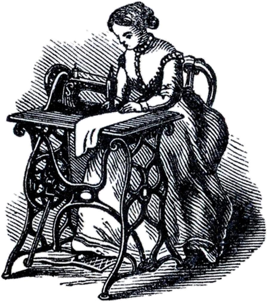 Lady Sewing on Machine Image