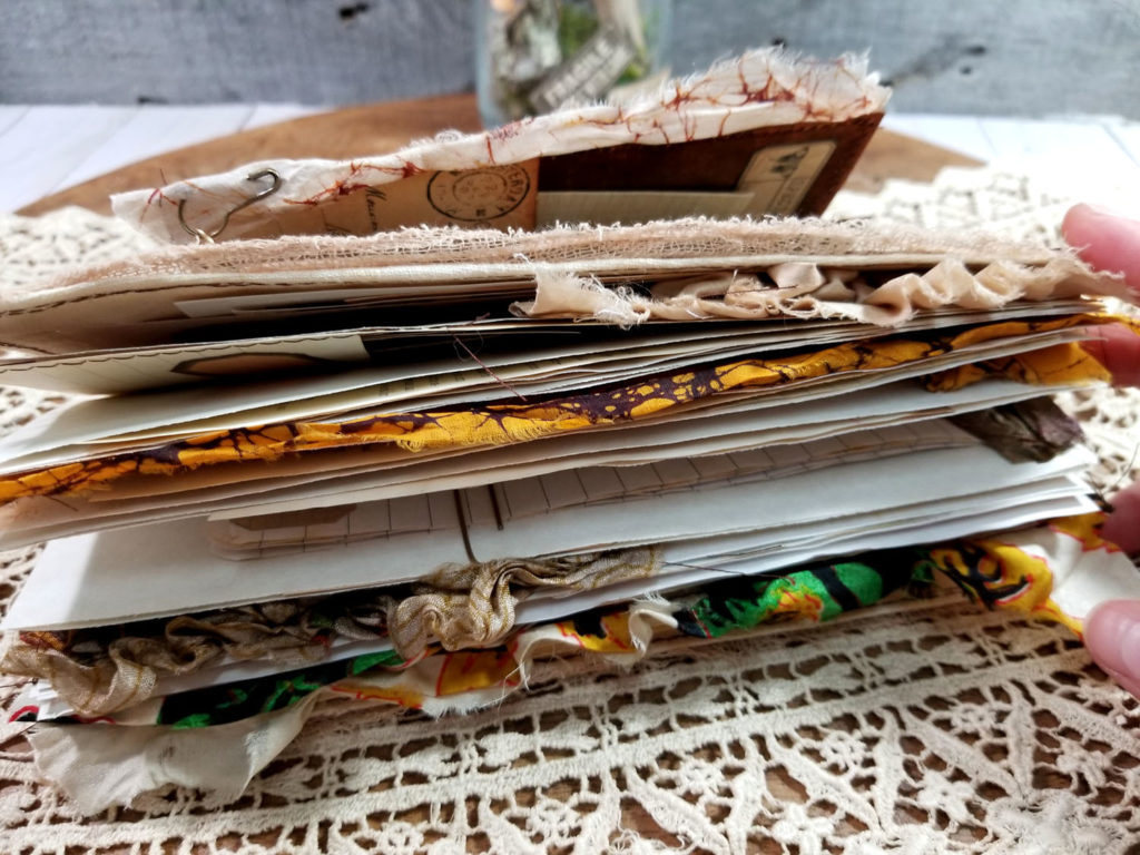 Naturalist Junk Journal cheesecloth and sari silk ribbons