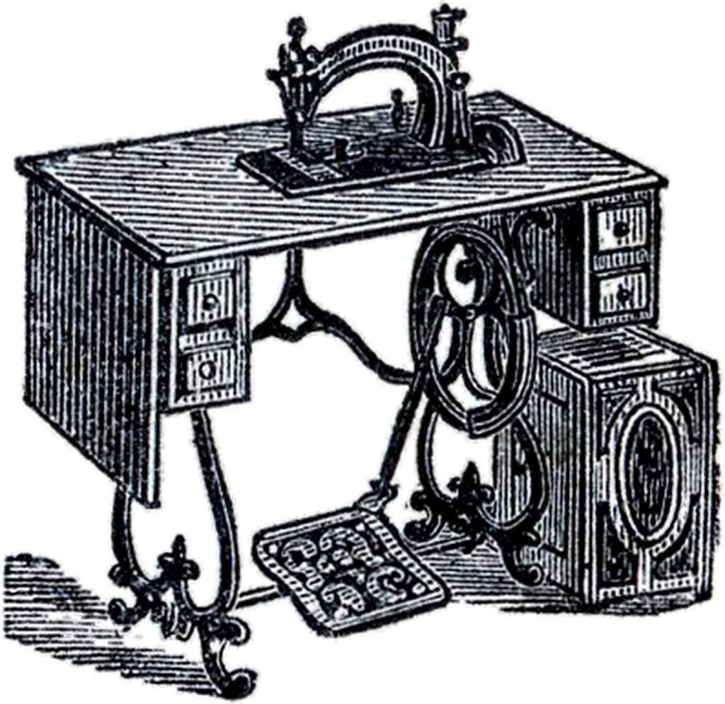 Old Sewing Machine with Cabinet Clipart