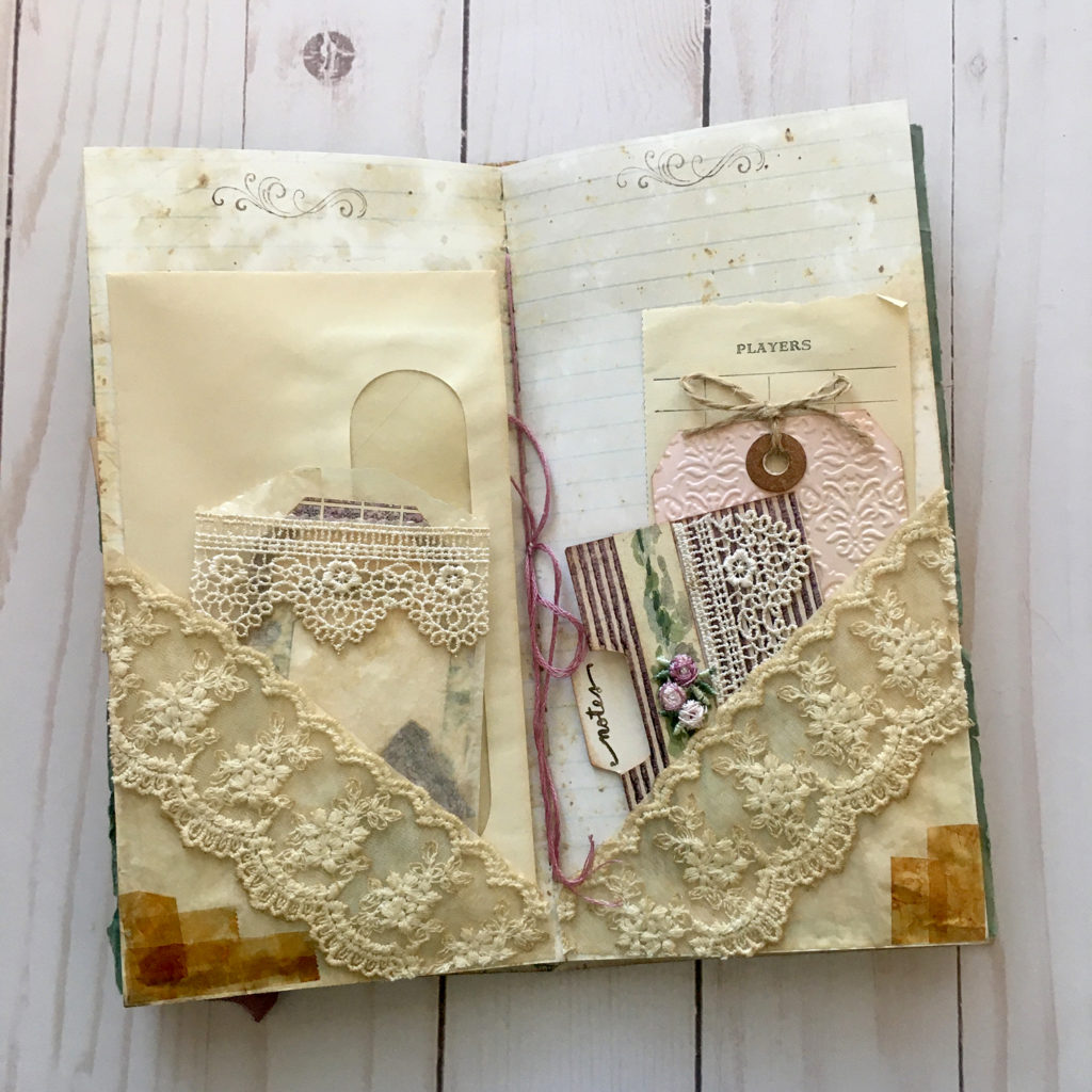 coffee dyed glassine bag with ephemera