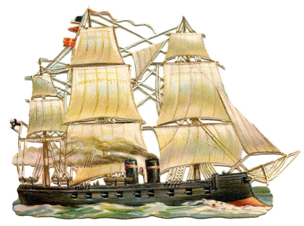 ship sails vintage clipart