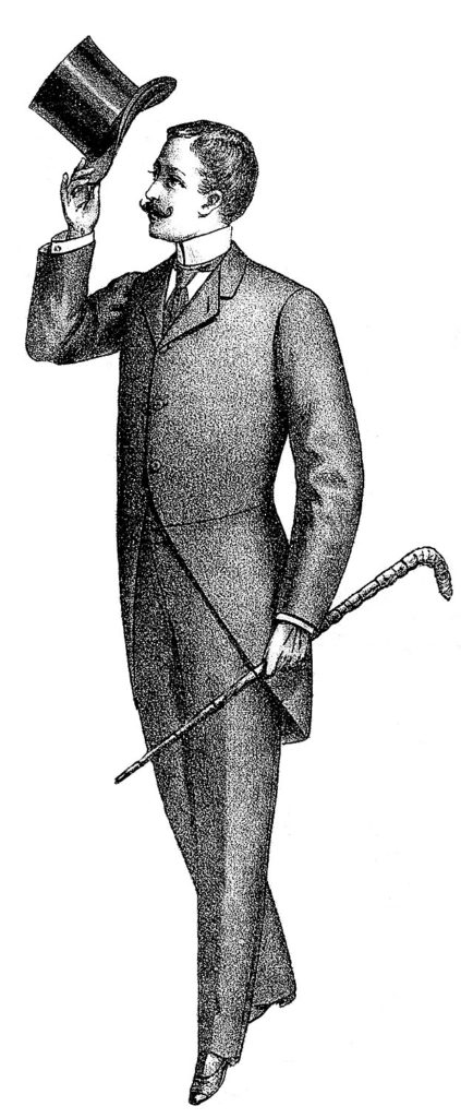 Victorian Dad Father Top Hat Cane Image